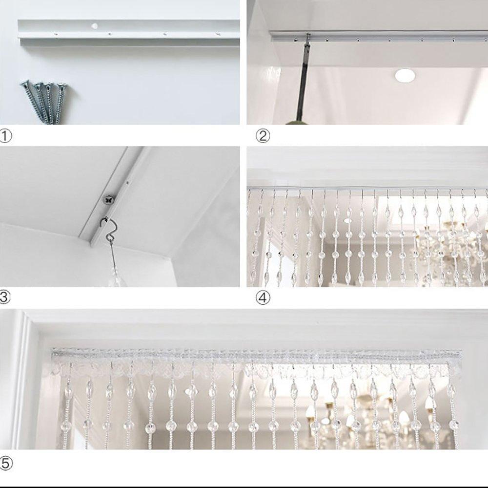 WUFENG Vorhang Perlen T/ür Vorh/änge Matt Kristall gut drapieren Hotel Eingang abgeschnitten Milchig Gr/ö/ße kann angepasst Werden Vorh/änge Farbe : Milchig wei/ß