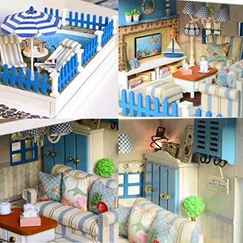 ASIDIY Wooden Miniature DIY Doll House with Furniture,1:24 DIY Dollhouse Kit for Kids /& Christmas Gift Romantic Santorini Island with Music Movement