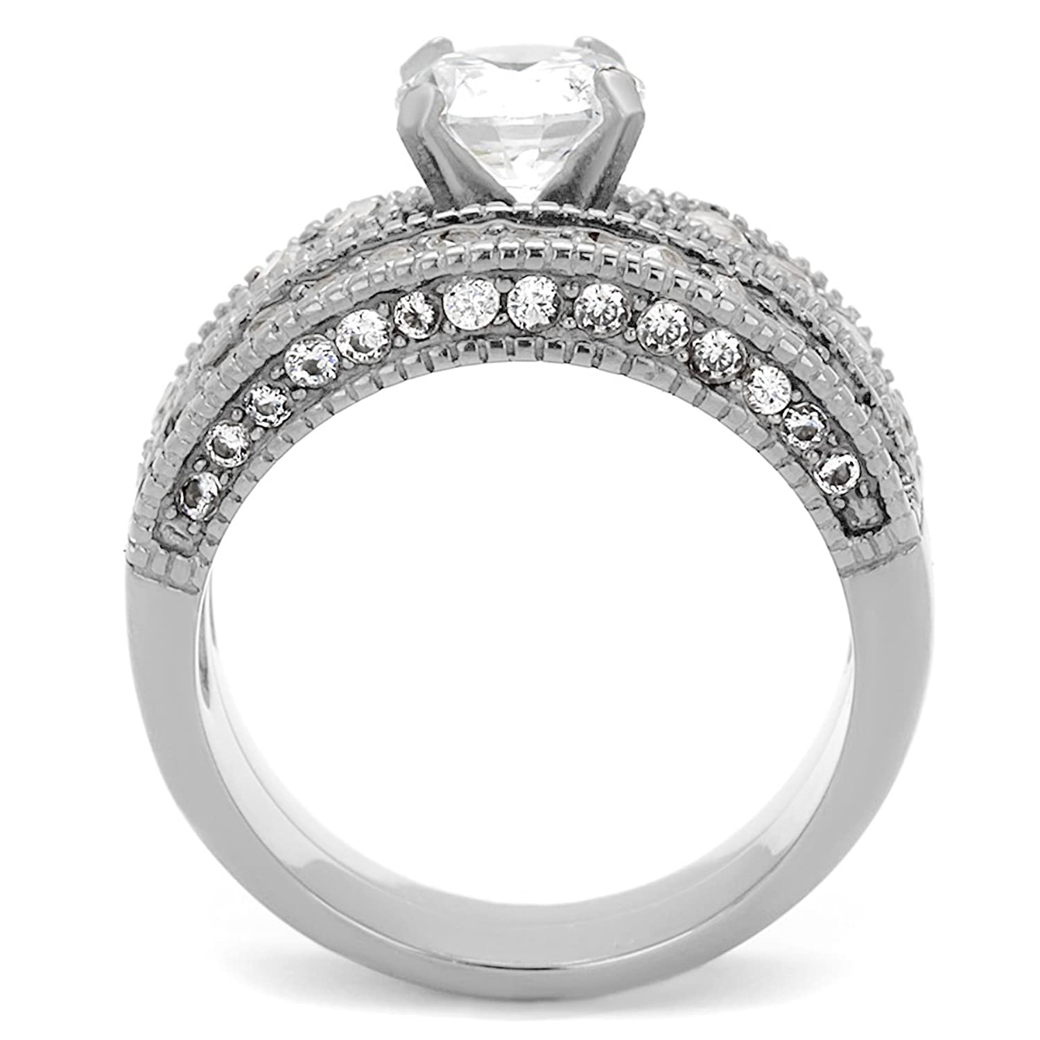 Amazon Vintage Style Stainless Steel CZ Bridal Wedding Ring