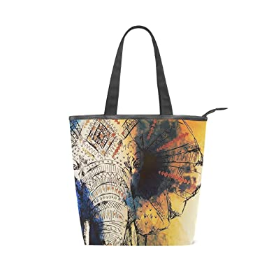 c85ca3c91c37 Amazon.com: Womens Canvas Tote Bags Indian Elephant Drawing Tote ...