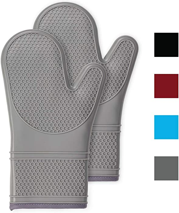 Gorilla Grip Premium Silicone Non Slip Oven Mitt Set, Soft Flexible Oven Gloves, Professional Heat Resistant Kitchen Cooking Mitts, Protect Hands from Hot Surfaces, Cookie Sheets, Gray Pair, Set of 2