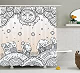 Grunge Home Decor Shower Curtain Set by Ambesonne, Smiley Sun and Houses on Earth Round Shapes Childhood Cartoon Traditional Festive Theme, Bathroom Accessories, 75 Inches Long, Beige