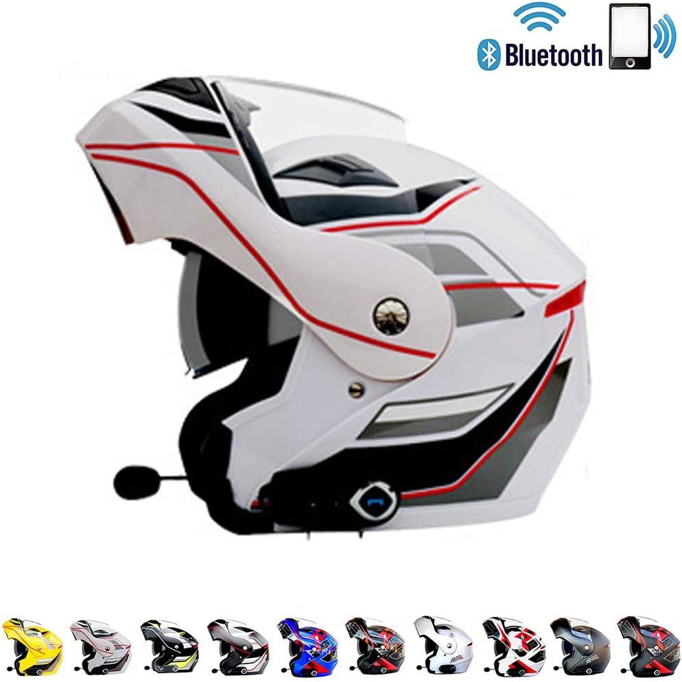 Casco Moto modulare Motocross Cross Helmet Casco Moto Bluetooth Integrato Connetti Navigazione//Telefono//Musica