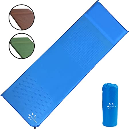 FRUITEAM Sleeping Pad, Self Inflating Camping Pad with Pillow Lightweight Foam Pad Air Mattress for Backpacking Tent Car
