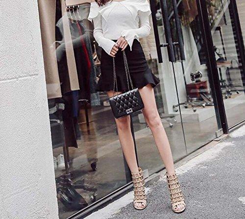 Fashion 35 Open 40 Shoes Size 11cm Sandals Roma Beige Eu Color Shoes Rivets Shoes Women Stiletto Hollow Court Zipper Pure Dress OL Toe R4xCw8gwq