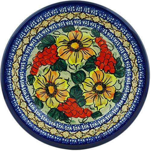Polish Pottery 8¾-inch Pasta Bowl (Colorful Bouquet Theme) Signature UNIKAT + Certificate of ()