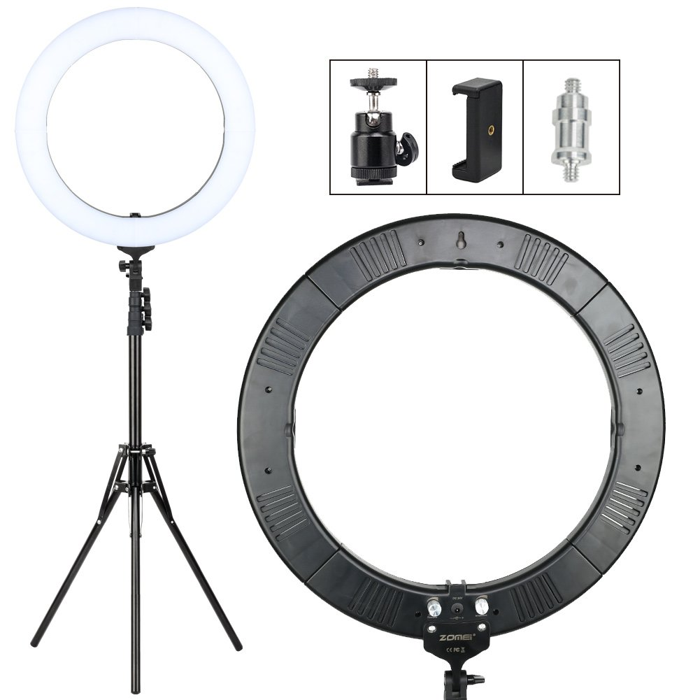 Zomei 18-inch Dimmable LED Ring Light Kit with Stand - (58W 2700-5500K) Video Lighting Kit - for Photography Makeup Camera Smartphone Youtube Video Shooting