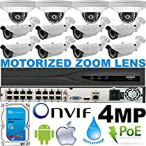 USG Business Grade H.265 4MP 2592x1520 12 Camera HD Security System : Ultra 4K 32 Channel Security NVR + 4x Dome 2.8mm & 8x Bullet Motorized 2.8-12mm Cameras + 1x 4TB HDD : Apple Android Phone App
