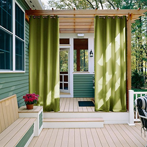 Outdoor Curtain Panel for front Porch - NICETOWN Three Pass Microfiber Thermal Insulated Ring Top Blackout Outdoor Indoor Window Curtain / Drape (1 Panel,52 x 95 Inch, Fresh Green) (Outdoor Window Treatments)