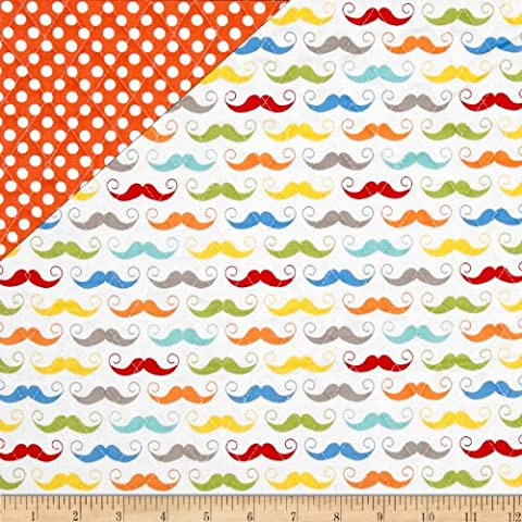 Riley Blake Double Sided Quilted Mustache White Fabric By The Yard (Riley Blake Mustache Fabric)