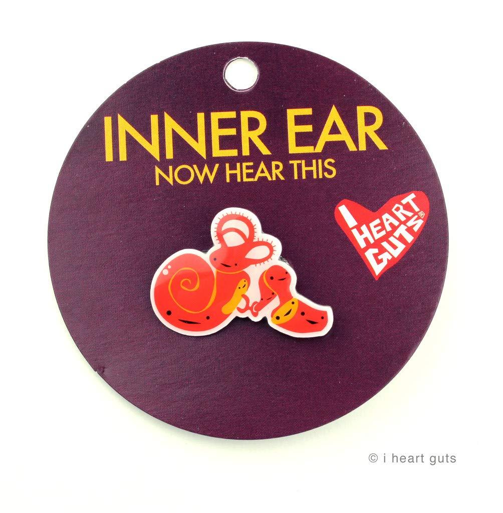 INNER EAR LAPEL PIN I HEART GUTS NOW HEAR THIS