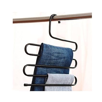 5 capa smagtron armario pantalones de S-Shaped himry toallas perchas armario 5 niveles de