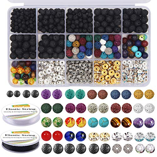 EuTengHao 602Pcs Lava Beads Stone Kits with 8mm Chakra Beads and Spacers Beads Bracelet Elastic String for Diffuse Essential Oils Adult DIY Jewelry Making Supplies ()