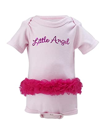 bdfd18eeb42  quot LITTLE ANGEL quot  Baby Girl Ruffle Onesie with ANGEL WINGS print on  back.