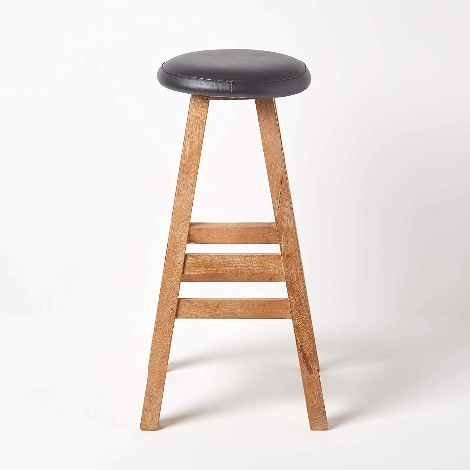 Handcrafted Nelson Barstool HOMESCAPES 100/% Solid Mango Wood Barstool Faux Leather Cushioned Seat 79cm High