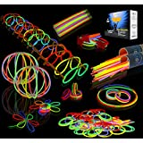 "JOYIN Glow Sticks Bulk 200 8"" Glowsticks (Total 456 PCs 7 Colors); Bracelets Glow Necklaces Glow-In-The-Dark Light-up Party Favors Pack."