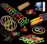JOYIN Glow Sticks Bulk 200 8'' Glowsticks (Total 456 PCs 7 Colors); Bracelets Glow Necklaces Glow-In-The-Dark Light-up Party Favors Pack.