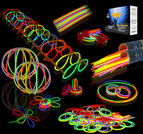 Glow Sticks Bulk 200 8'' Glowsticks (Total 456 PCs 7 Colors); Bracelets Glow Necklaces Glow-In-The-Dark Light-up Party Favors Pack by Joyin - 8' Bracelet Long