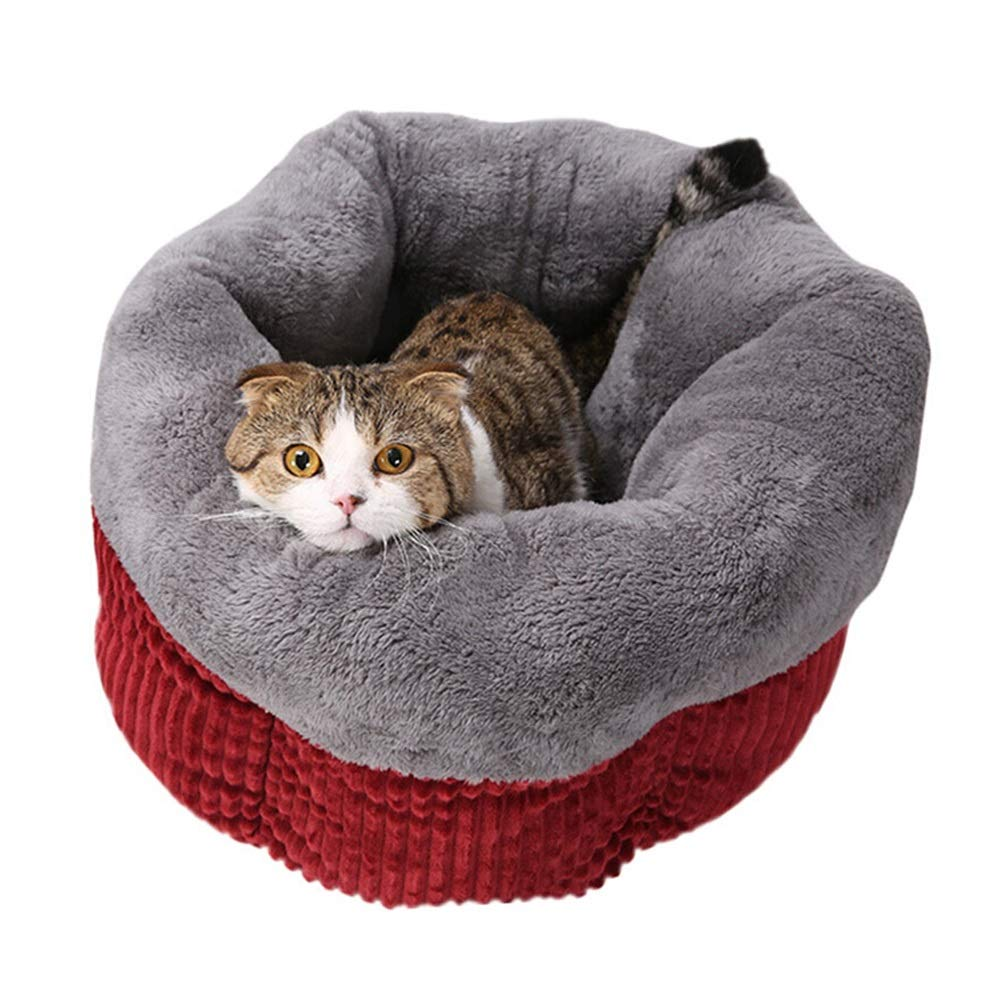 Small XINGZHE Pet Dog Warm Cat House Pet Kennel Large Cat House Teddy Kennel Winter Thickening Cat Mat Pet Supplies Dog Supplies 45  25cm 55  25 Pet bed (Size   S)