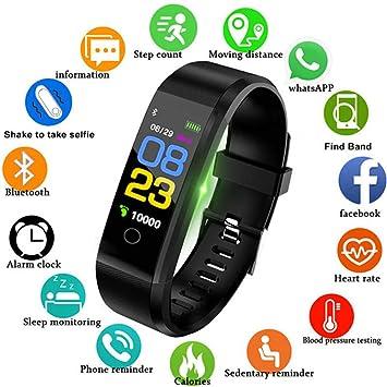 ROOUY Pulsera Inteligente Pulsómetro Tensiómetro Fitness Reloj Deportivo, Negro: Amazon.es: Deportes y aire libre