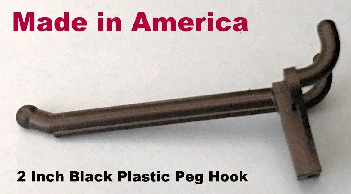 (10 PACK) 2 Inch Black Plastic Peg Hooks for 1/8'' to 1/4'' Pegboard (Made in USA)