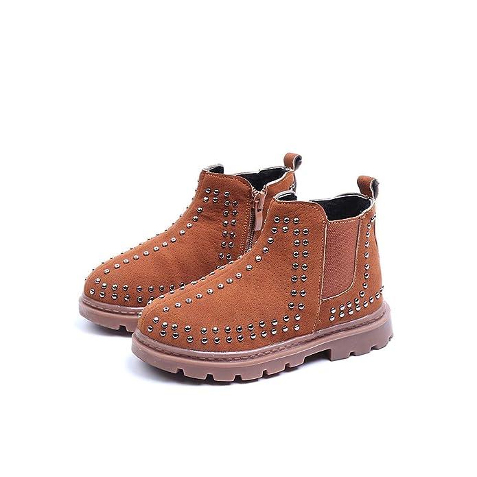 86123d9f7 Botas de Nieve Bajos para Niños Niñas Invierno PAOLIAN Zapatos de Piel de Remache  Botines Militares Pelo Chicas Chicos Espesar Además Lana Calientes Calzado  ...