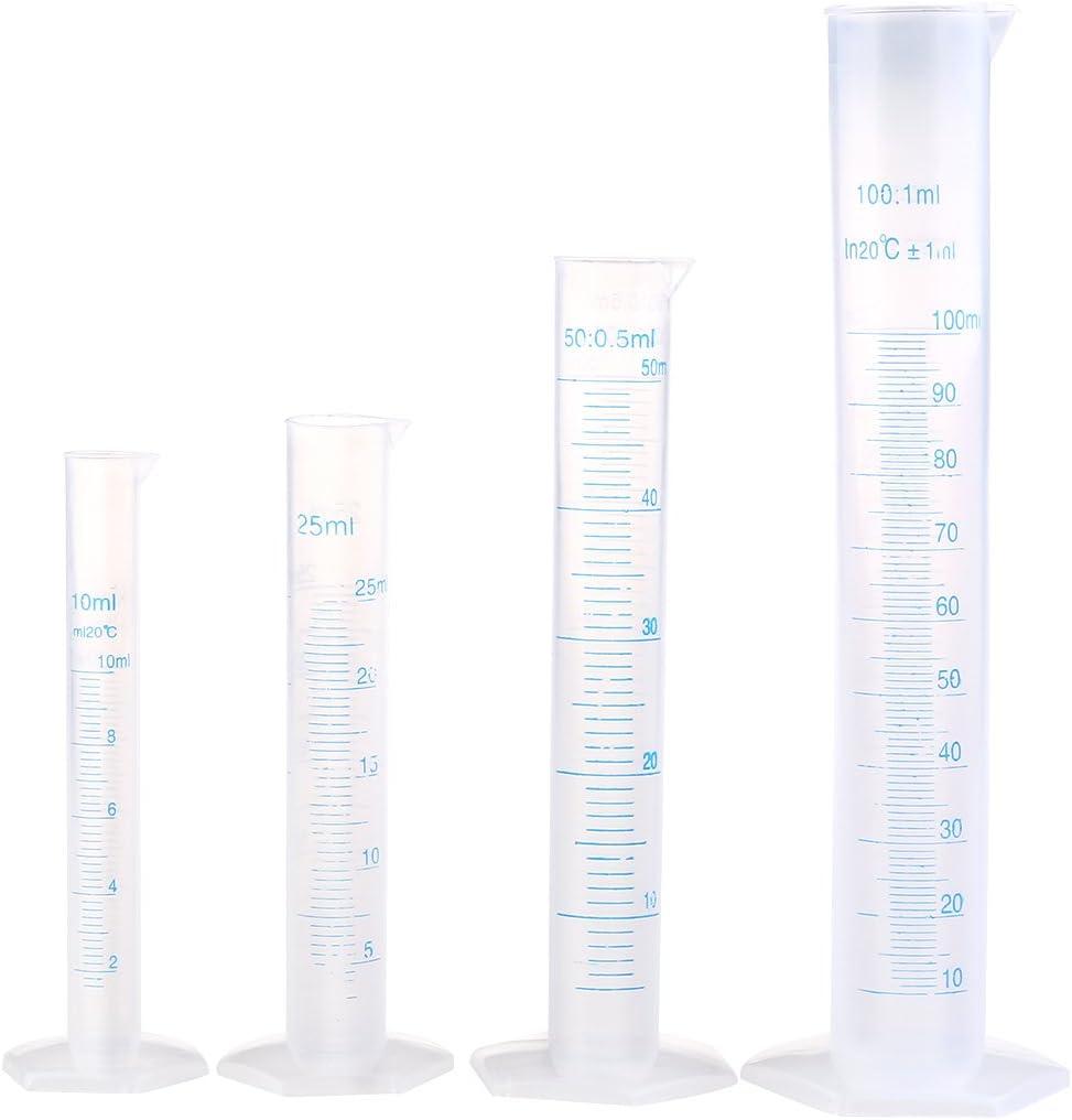 LEORX Probeta 4pcs plástico transparente azul de la línea de medición graduada cilindro tubo de ensayo de laboratorio