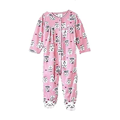 Baby Girl's Size 0-3 Months Pink Fleece Kitty Cat Footed Pajama Sleeper
