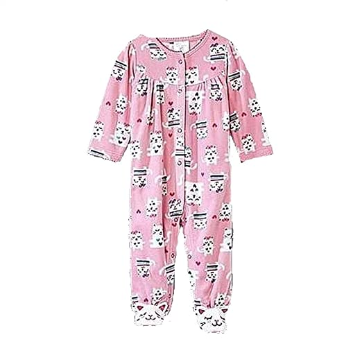 0aaeacfc4 Amazon.com  Baby Girl s Size 0-3 Months Pink Fleece Kitty Cat Footed ...