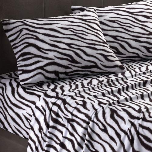 Bedding Sheet Set 4PCs King, Zebra Print with 15 inch Deep Pocket Fitted Sheet 400 Thread Count, 100% Pure Cotton Breathable & Extremely Durable