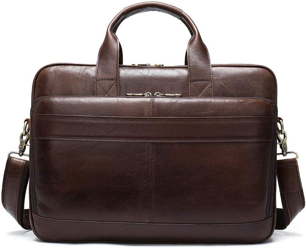 Zhengtufuzhuang Briefcase Large Capacity Dark Coffee Square Gentleman Leisure and Business Bag Retro Multi-Functional Leather Handbag 40.5x6.5x28cm Messenger
