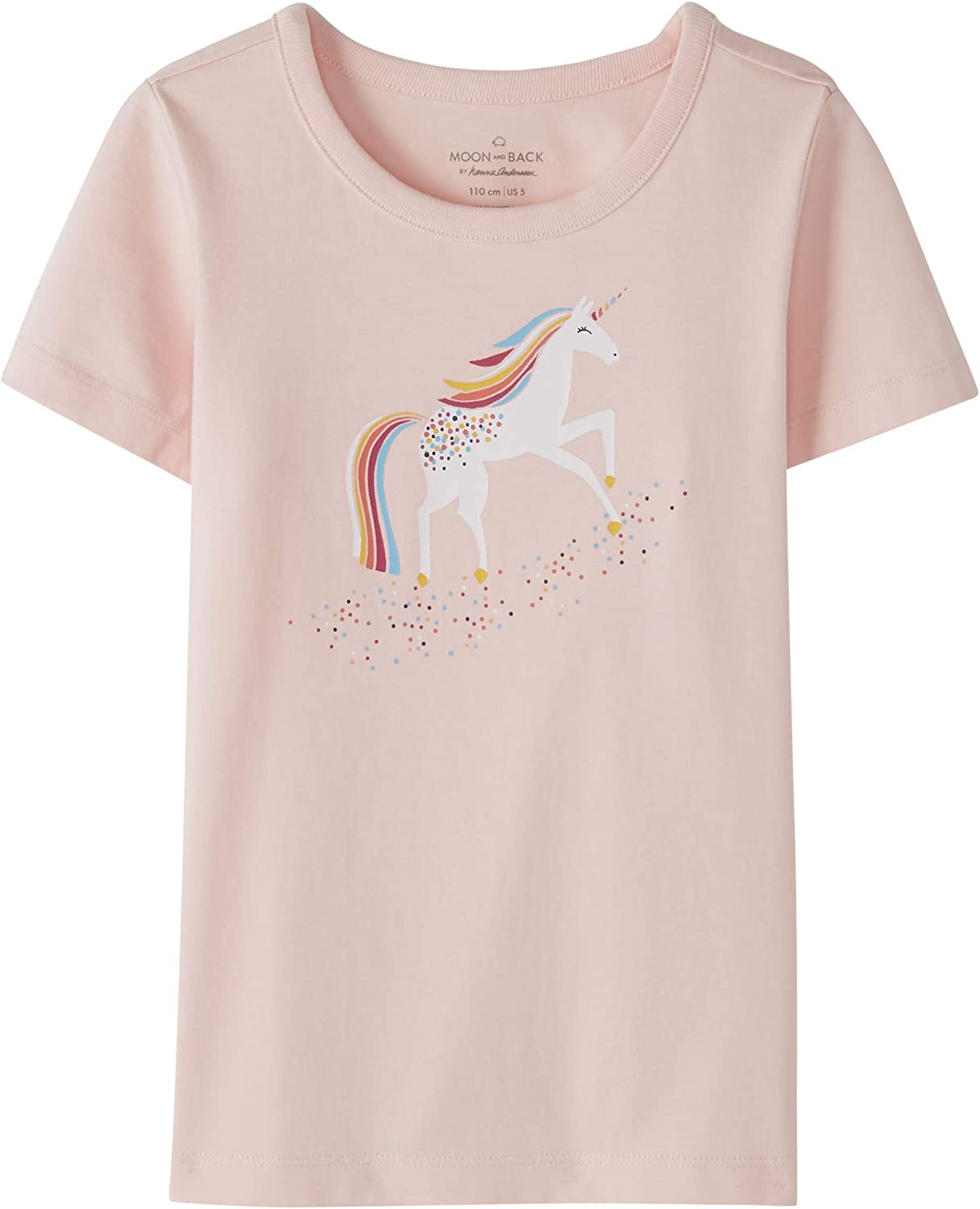 Moon and Back by Hanna Andersson Unisex-Child Girls Short Sleeve Graphic Tee T-Shirt