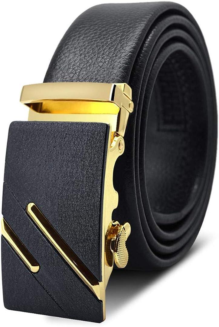 JUIHUGN Famous Black Belt Men t Genuine Luxury Leather Belts for Men,Strap Male Metal Automatic Buckle AC040A0455 115cm