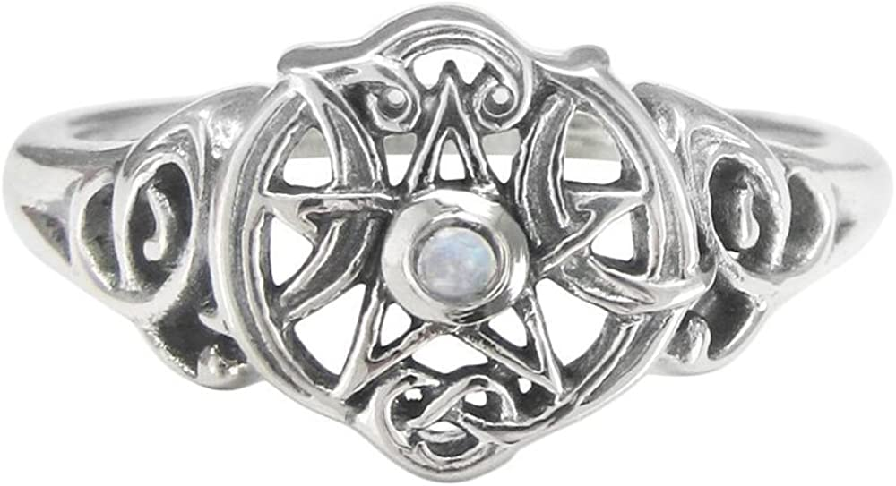 Dryad Design Sterling Silver Heart Pentacle Ring with Natural Rainbow Moonstone (Size 4-15)