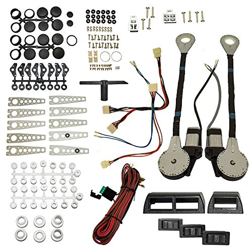Universal Electric Power Window Lift Regulator Roll Up Conversion Kit with Switches Wiring and Hardware for 2-Door Pickup Truck SUV Van Car