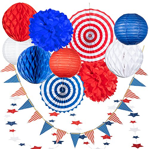 (USA 4th of July Patriotic Decorations - 25 pcs Blue Red and White Paper Fans, Lanterns, Pompoms, Triangle Garland, Star Garland and Honeycomb )