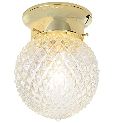 Royal Cove 671506 Diamond Cut Glass Ceiling Fixture Polished Brass