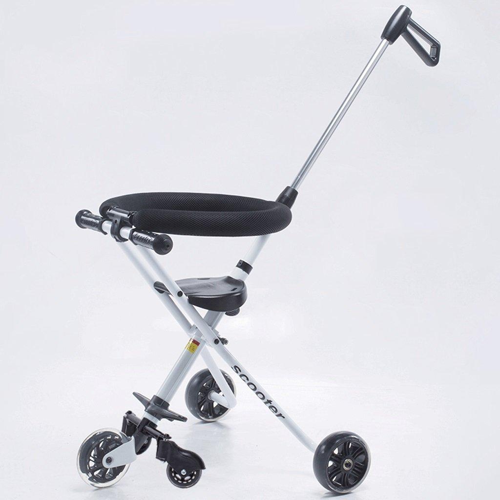 子供の手プッシュ三輪車の赤ちゃん折りたたみシンプルなポータブル五輪車2-6歳の子供のベビーカー車、白、黒 ( Color : White ) B07CG4Y378