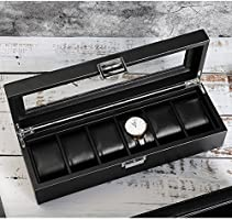 SWEETV Watch Storage Box for Men - 6/12 Watches Slots, Black PU Leather Jewelry Organizer Case, Removable Pillows, Large Holder
