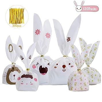BBLIKE Bolsas Regalo Cumpleaños, 100 Pcs Bolsa de Caramero Galleta Piscolabis de Conejo, Bolsas Plástico para Frutos Secos, Caramelos, Chocolate ...