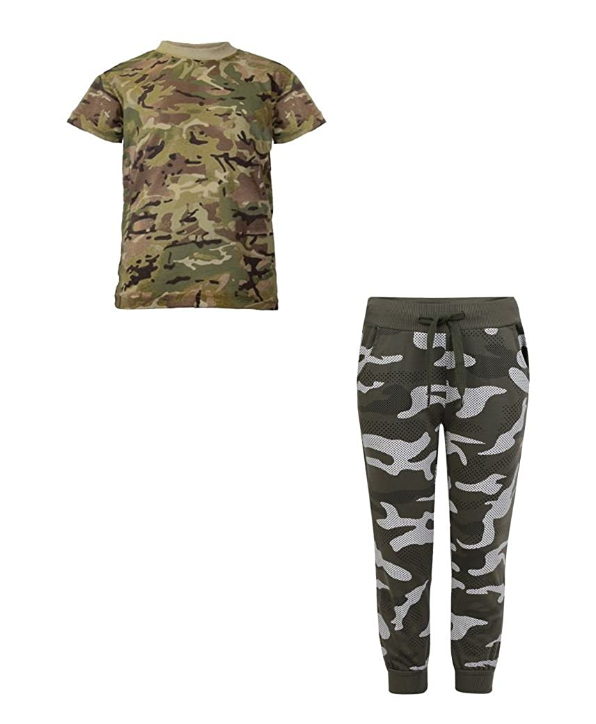 LotMart Boys Army T-Shirt Bundle with Camo Dot Print Tracksuit Bottoms