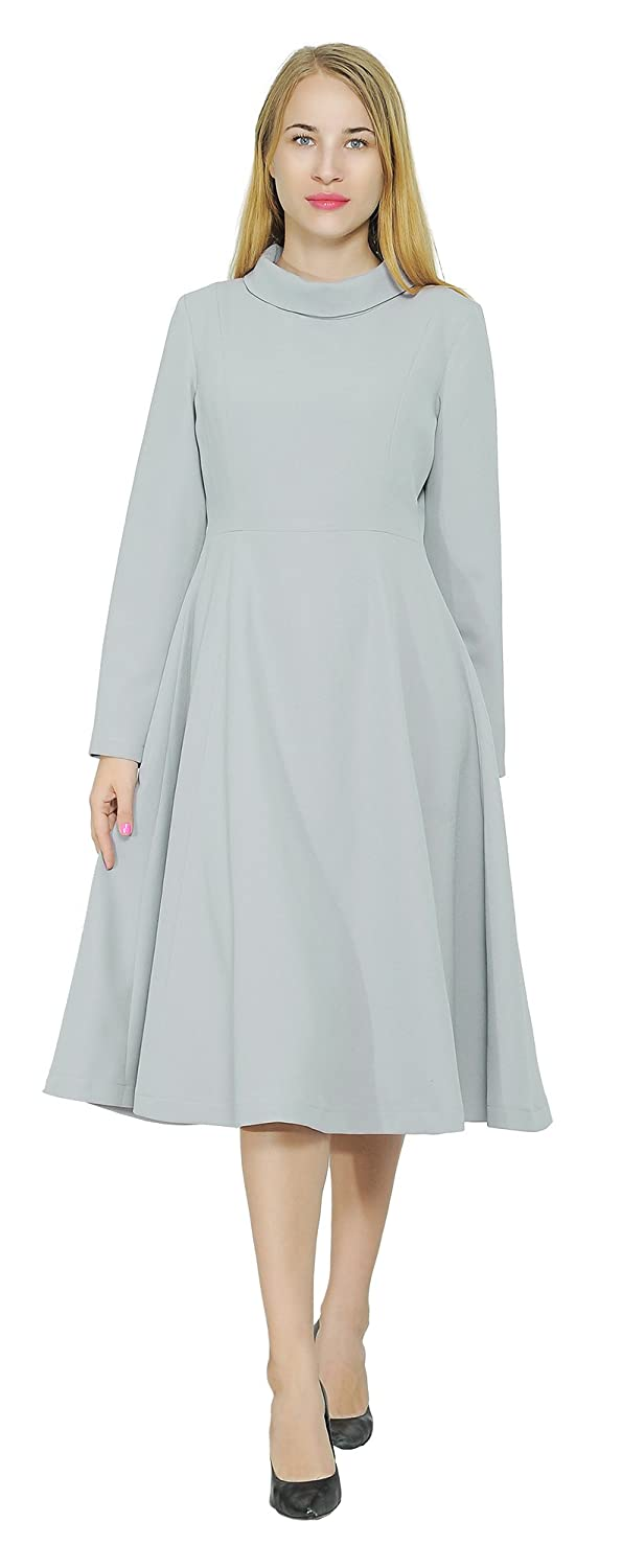 5cfca426090 Marycrafts Mary Crafts Womens Winter High Neck Long Sleeve A Line Midi  Dresses at Amazon Women s Clothing store