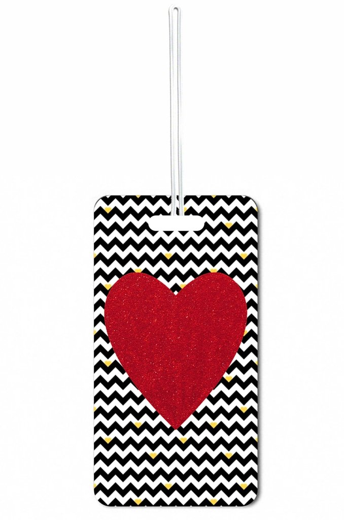 Red Glitter Heart on Black and White Chevrons Rosie Parker Inc. Set of 8 Luggage Tags with Personalized Back