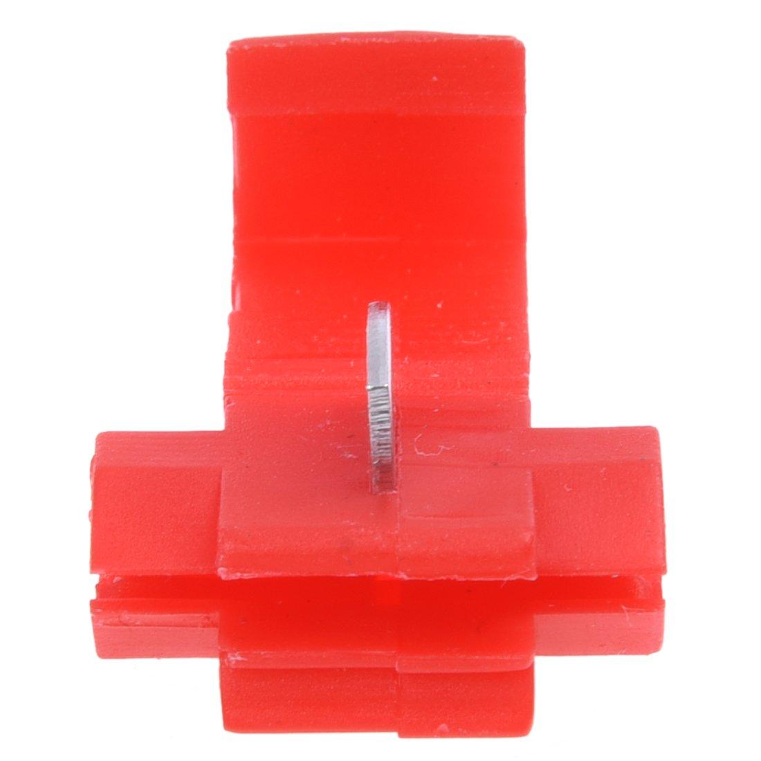TOOGOO(R) Terminales de cable 100pcs rapida Splice Conectores Lock Crimp Electrica Electrica - Rojo 015532C2