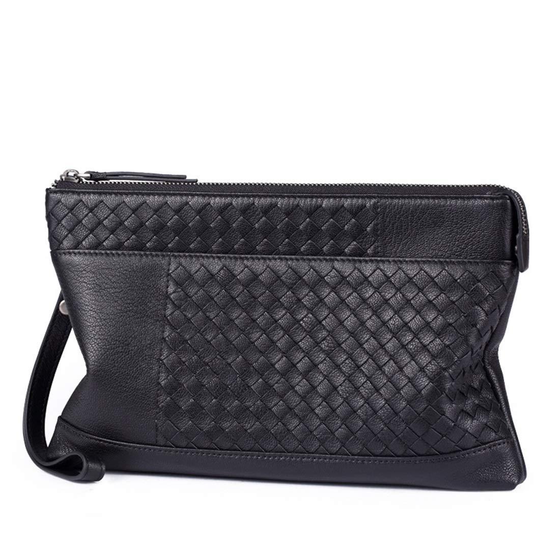 Gaisiteru メンズレザービジネスニットシープスキンクラッチ財布ハンドバッグ (色 : ブラック) B07QRR43X9 ブラック