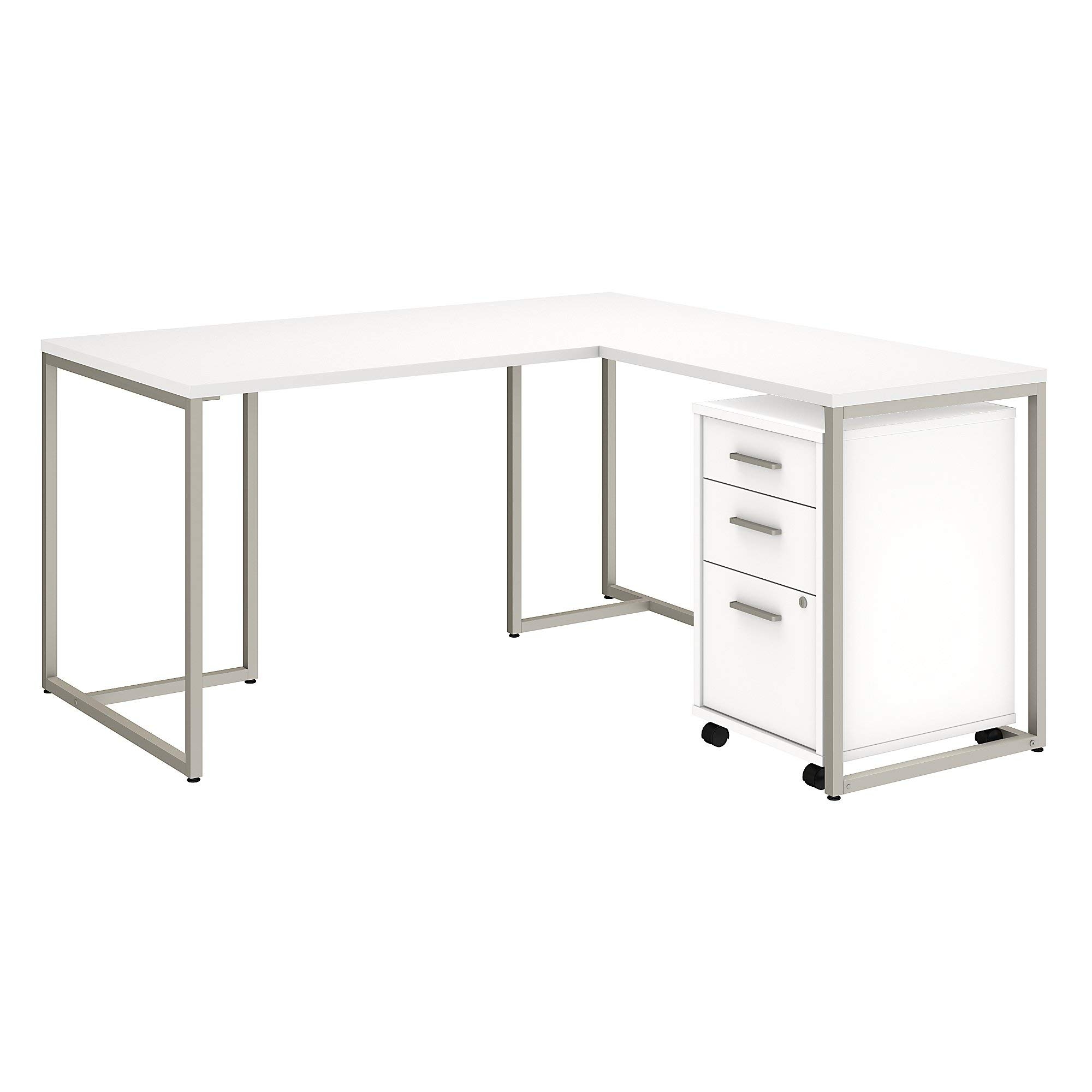 Office by kathy ireland Method 60W L Shaped Desk with 30W Return and Mobile File Cabinet in White by Kathy Ireland Office