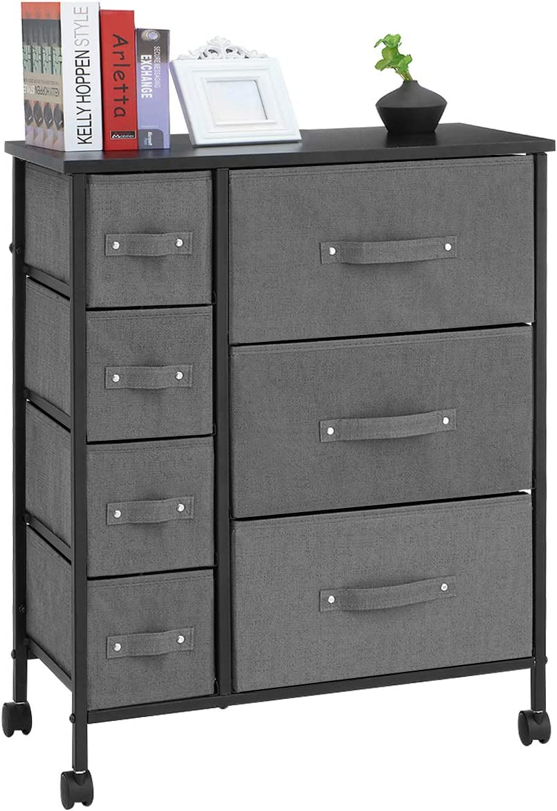 7 Drawers Dresser - KINGSO Furniture Storage Tower Organizer Unit with Sturdy Steel Frame and Easy-Pull Chest of Drawers for Bedroom Living Room Guest Room Dorm Closet - Gray
