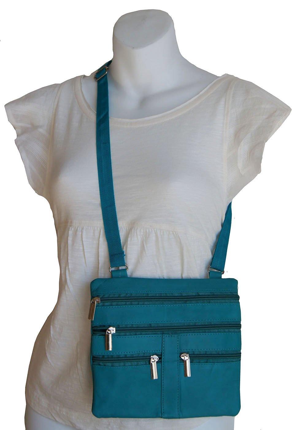 Turquoise Ladies Genuine Leather Cross Body Bag Satchel Messenger Bag 48'' Strap