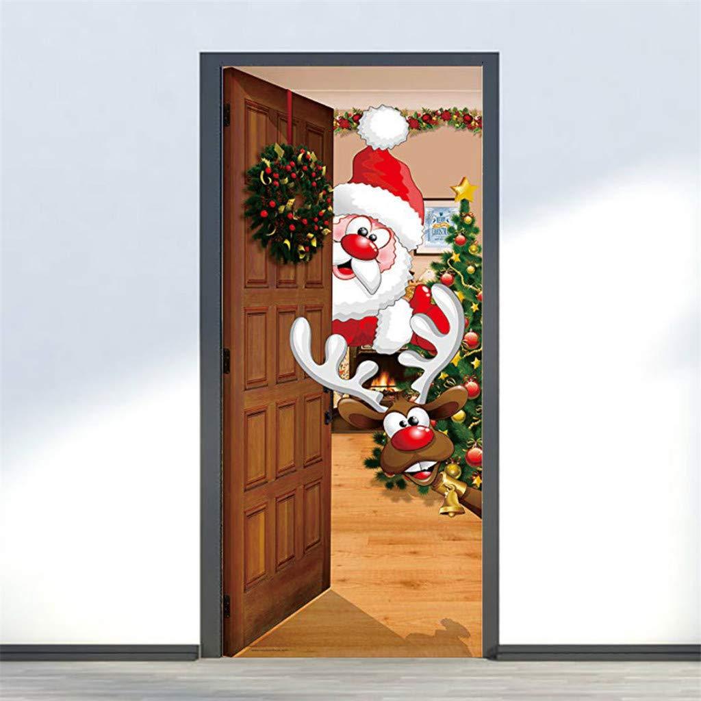 Koojawind Adesivi Per Porte Di Natale Creativi Adesivi Per Finestre In Vetro Adesivi Per Pareti In Legno Adesivi 3d Per Pareti Adesivi Murali Porte Rimovibili Adesivi In Vinile Decorazioni Luci Per Interni