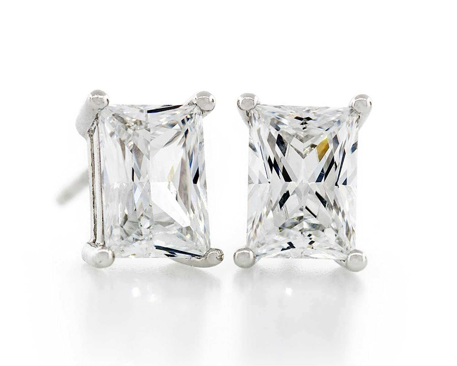 Acacia Jewelry 2.50 Carat (ctw) Rectangle Shape Princess Baguette Diamond Cut Crystal White 7.5x5.5mm Crystal CZ 925 Sterling Silver Heavy Mounting Stud Earrings Rhodium Plated